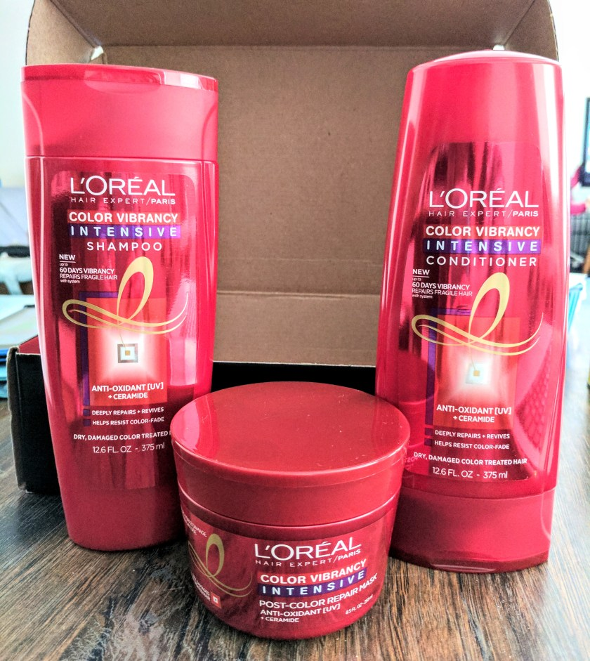 L'OREAL COLOR VIBRANCY INTENSIVE SHAMPOO, CONDITIONER, AND MASK