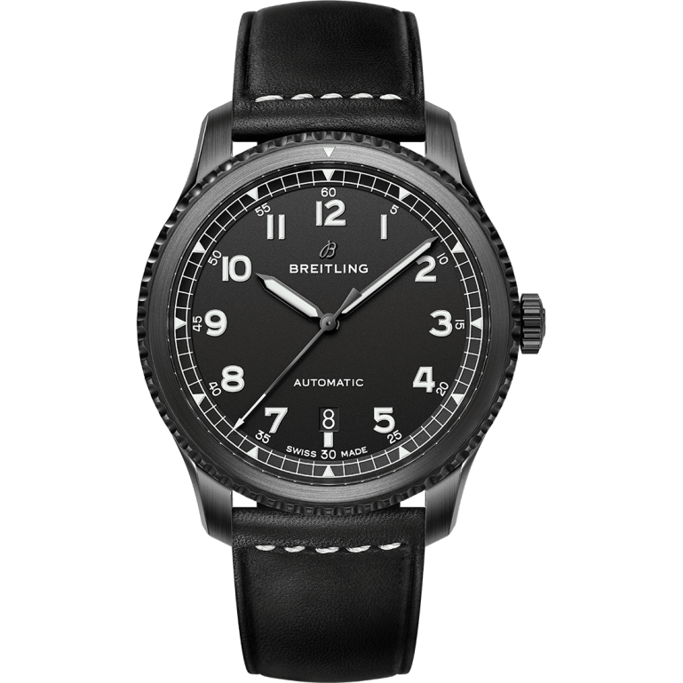 Navitimer 8 Automatic Blacksteel with black dial and black leather strap