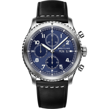 Navitimer 8 Chronograph with blue dial and black leather strap
