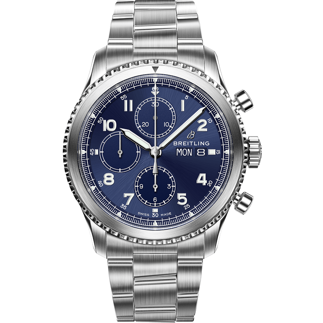 Navitimer 8 Chronograph with blue dial and stainless steel bracelet