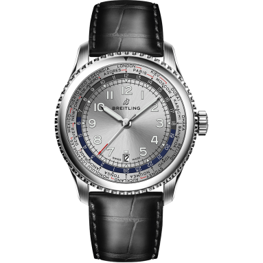Navitimer 8 Unitime with silver dial and black alligator leather strap