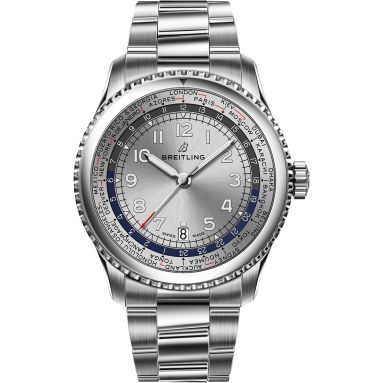 Navitimer 8 Unitime with silver dial and stainless steel bracelet