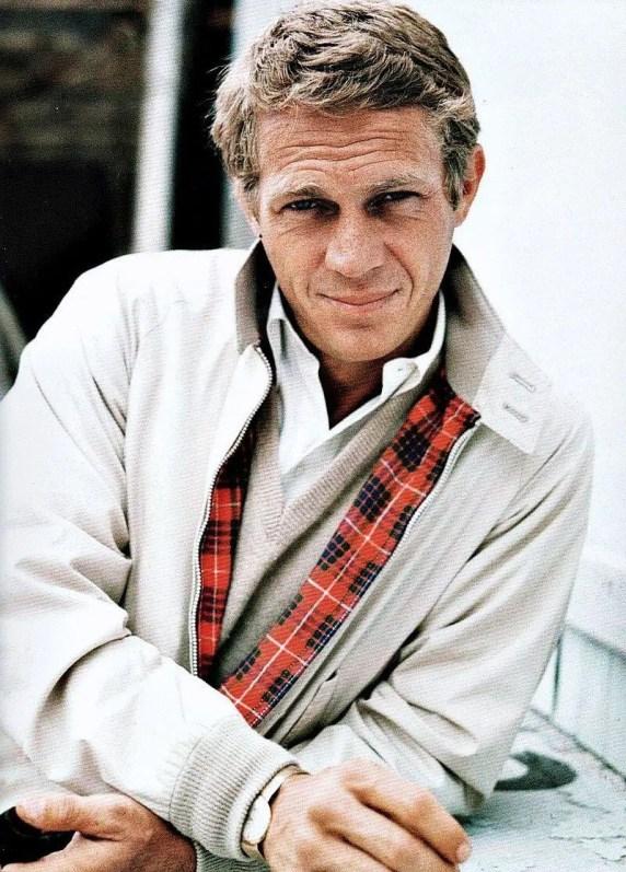 Steve McQueen wearing a white Harrington
