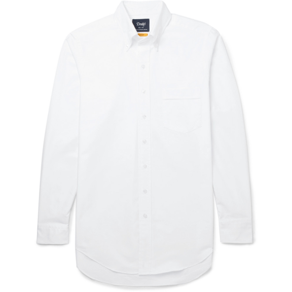 Drake's-white-oxford-shirt