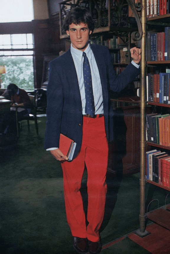 Red chino trousers - taking Preppy to the extreme