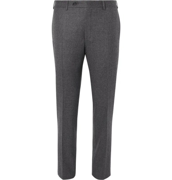 CANALI Grey Slim-Fit Puppytooth Super 120s Wool Suit Trousers £290 >