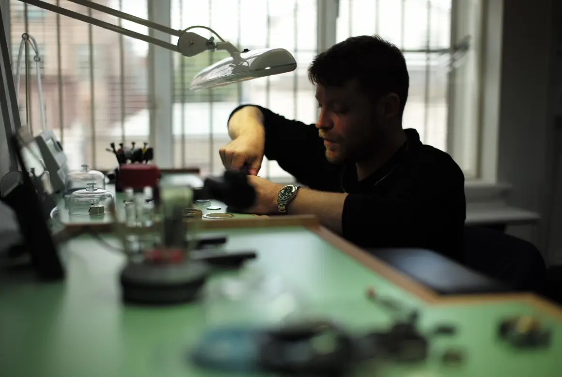 Man working on a watch