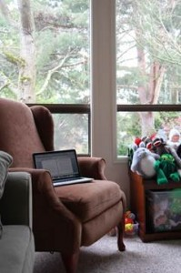 Caroline's workspace, complete with toys and trees
