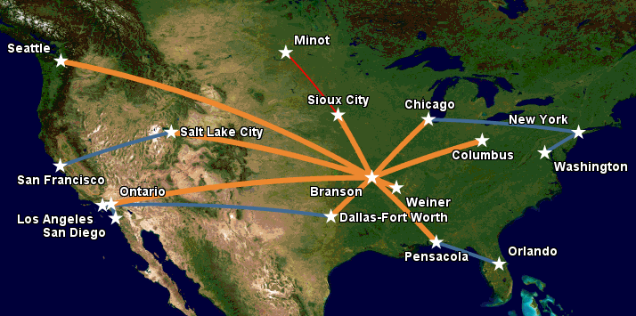 Apex Airways route map, February 2016, following the shutdown of operations at Minot International Airport.