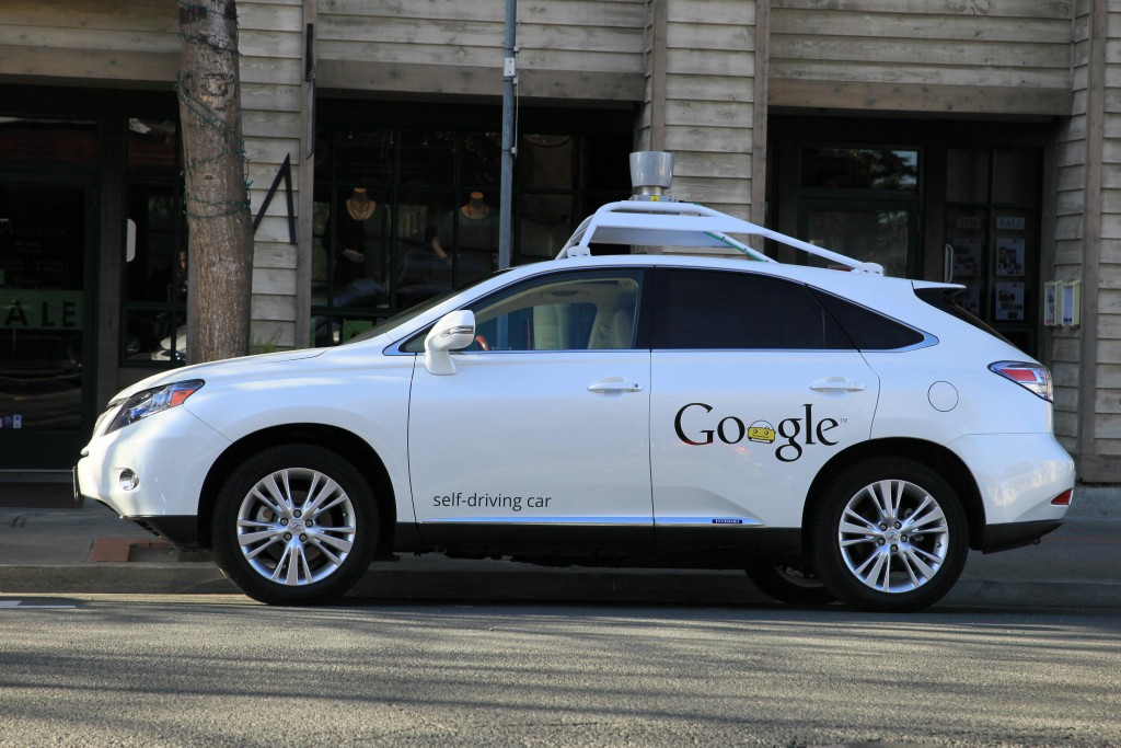 Google Self-Driving Driverless Car, Lexus  RX450h on the streets in Benecia, California
