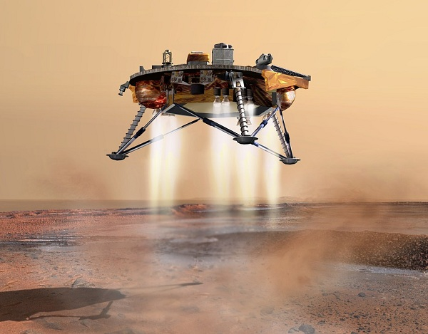 A spaceship lading on Mars