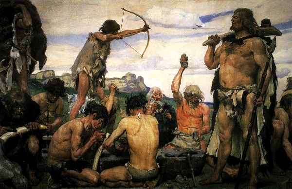 Painting illustrating people from the Stone Age