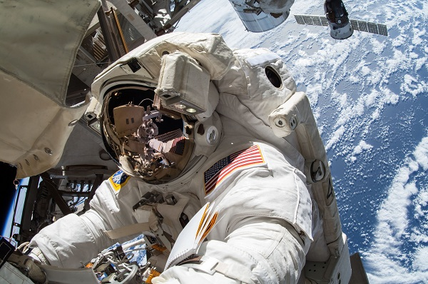 An astronaut outside the ISS