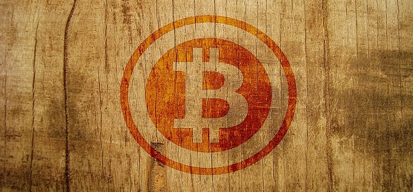 Bitcoin stamp on wood