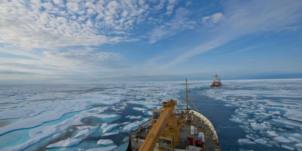 Two ships in Arctic waters