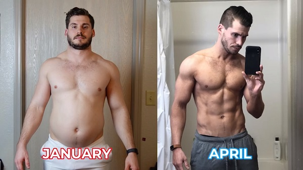 Before and after photos of man losing weight