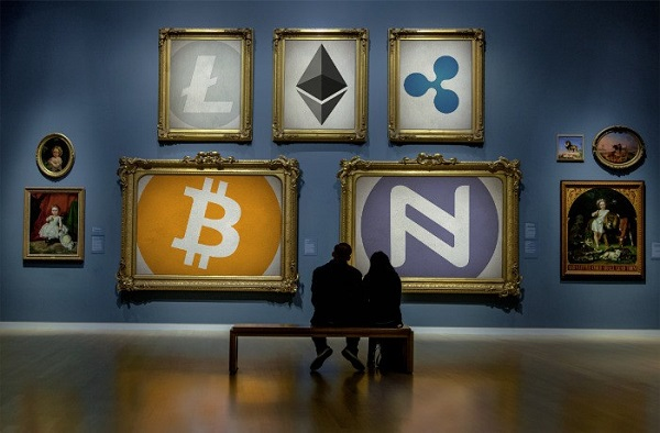 Cryptocurrency logos in fake art gallery