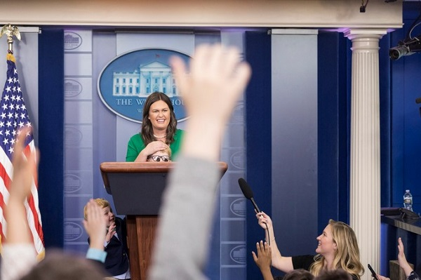 White House Press Secretary Sarah Huckabee Sanders and reporters