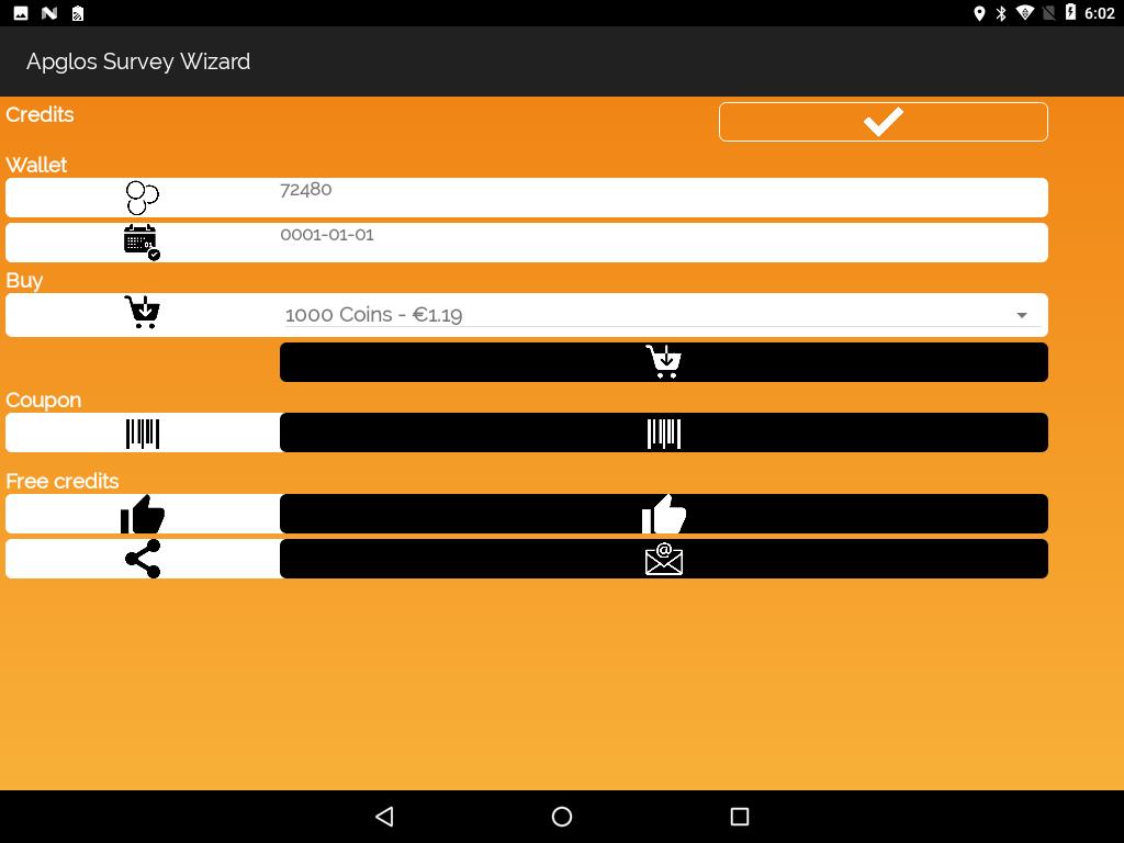 Credit screen of Apglos Survey Wizard