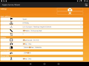 Settings screen of land survey software Apglos Survey Wizard