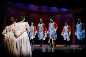 Lorin Zackular as Lydia Bennet is wooed by the dashing group of Redcoats (photo credit: Ron Heerkens Jr./broadwayworld.com)