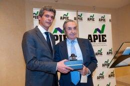 Javier Montalvo, de la Junta Directiva de la APIE, entrega su premio a Jose María Marín Quemada, presidente de la CNMC y segundo accesit Tintero.