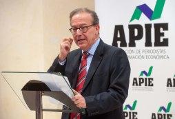 Antonio Carrascosa, Director General del FROB, se dirige al público tras recibir el primer accesit de Secante durante los premios de la APIE Tintero y Secante 2014.