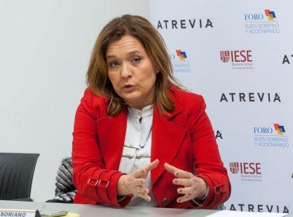 Asunción Soriano, directora del Foro de Buen Gobierno, durante la rueda de prensa de presentación del XIII Informe de Juntas Generales de empresas del Ibex-35.