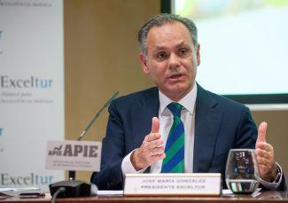 Jose María González, presidente de Exceltur, durante la presentación del informe sobre empleo en el sector turístico celebrada en colaboración con la Asociación de Periodistas de Información Económica (APIE).