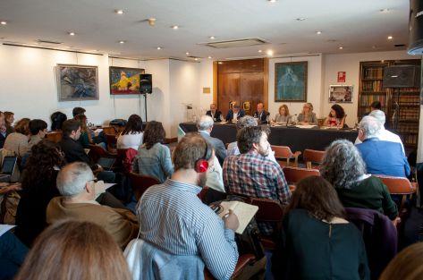 Vista general de la sala durante el debate sobre pensiones con el que comenzó el XXXI Curso de Economía organizado por la APIE.