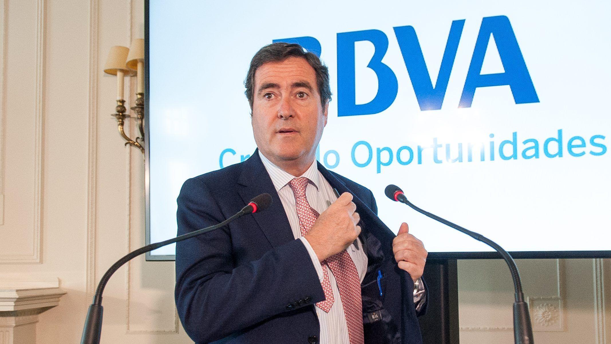 Antonio Garamendi, Vicepresidente de la CEOE y presidente de Cepyme, durante su intervención en el Curso de Economía organizado por APIE en la Universidad Menéndez Pelayo de Santander.