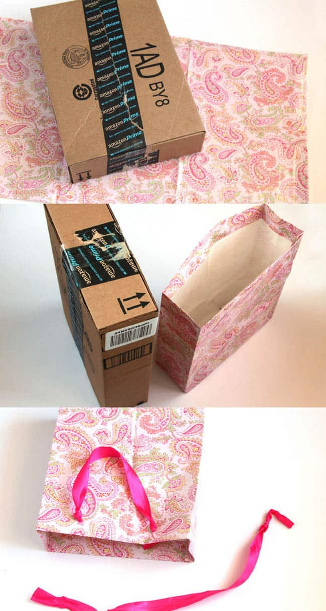 turn gift wrap to gift bags apieceofrainbowblog 21 - 16 Favorite Easy Gift Wrapping Ideas (Many are Free!)