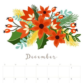 Printable December 2018 Calendar Monthly Planner Floral Design A Piece Of Rainbow