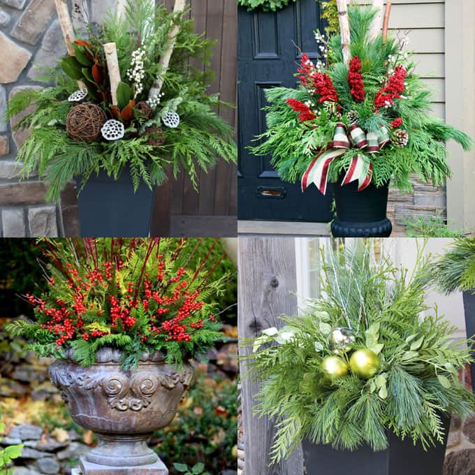 Outdoor Planters Winter Christmas Decorations apieceofrainbow 14 - The Easiest DIY Christmas Swag Ever