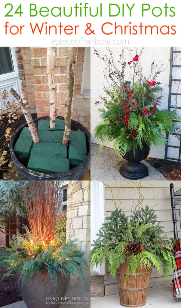 24 Colorful Outdoor Planters For Winter Christmas Decorations A Piece Of Rainbow