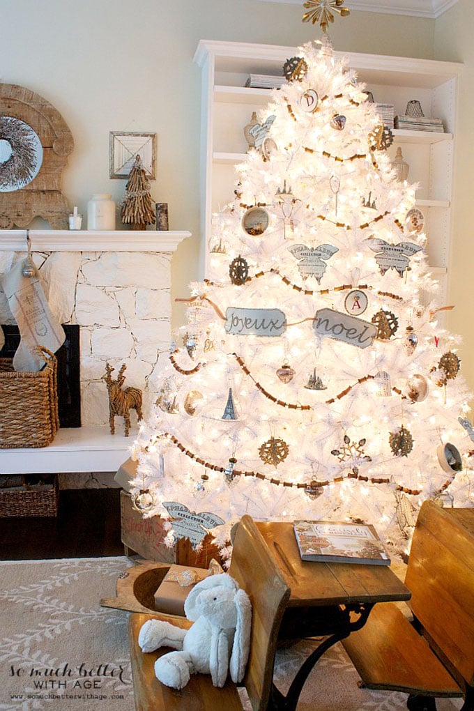 christmas tree decorating ideas elegant decorations how to decorate white red ribbon tutorials apieceofrainbow 12 - 42 Gorgeous Christmas Tree Decorating Ideas { & Best Tutorials!}