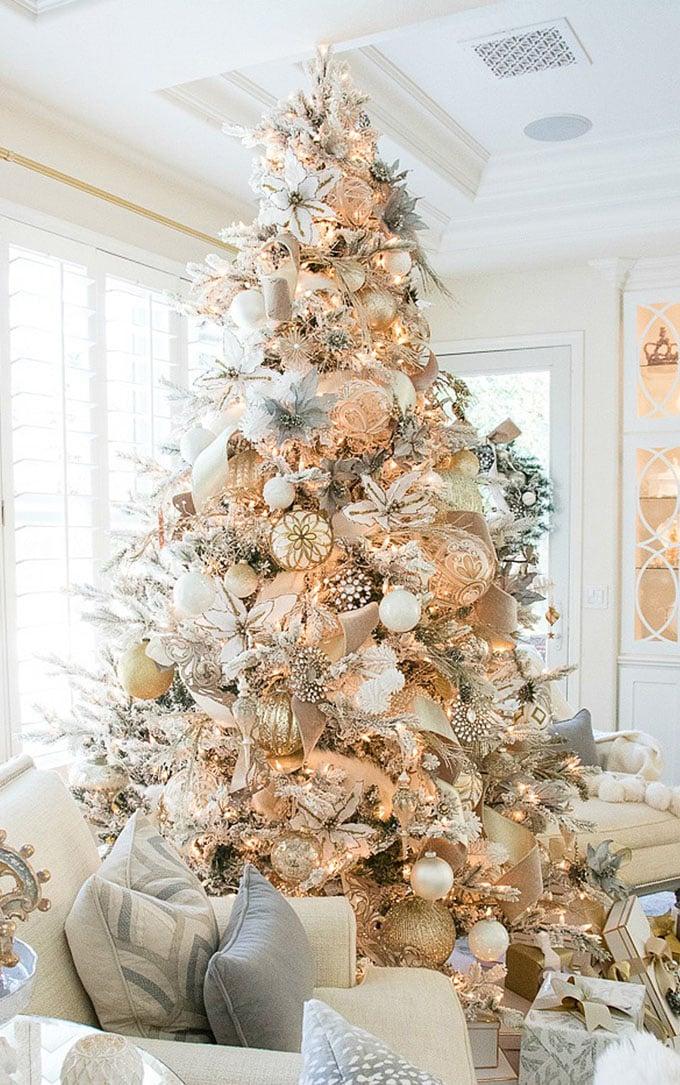 christmas tree decorating ideas elegant decorations how to decorate white red ribbon tutorials apieceofrainbow 21 - 42 Gorgeous Christmas Tree Decorating Ideas { & Best Tutorials!}