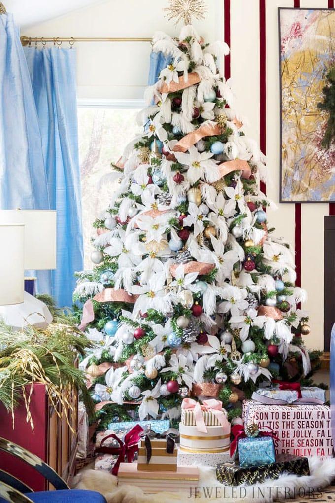 christmas tree decorating ideas elegant decorations how to decorate white red ribbon tutorials apieceofrainbow 25 - 42 Gorgeous Christmas Tree Decorating Ideas { & Best Tutorials!}