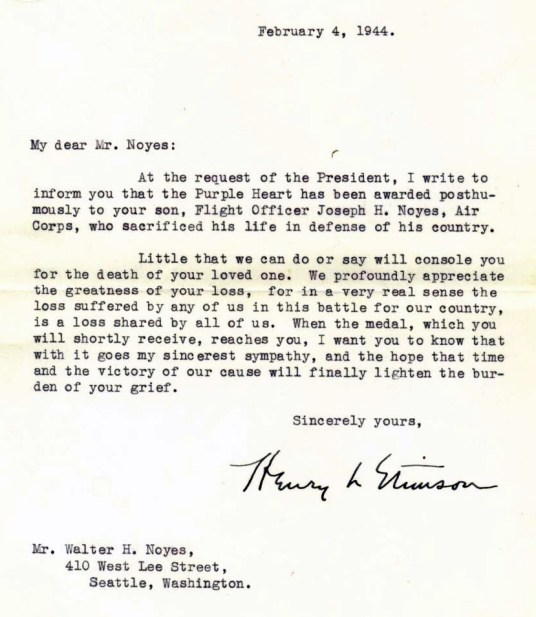 The full letter from The Secretary of War