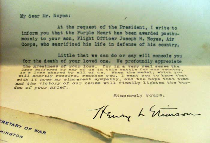 Letter From Henry Stimson, Secretary Of War