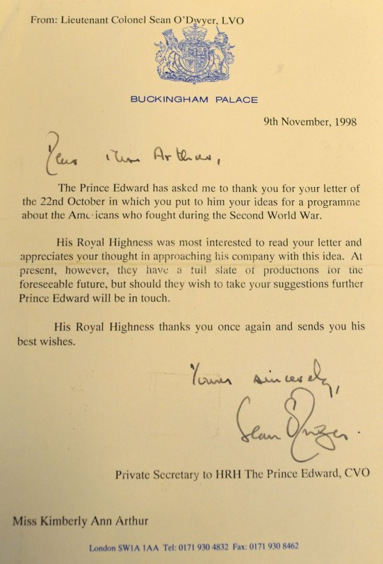 Letter from The Prince Edward, 1998
