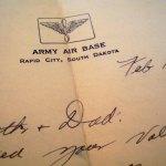 Letter written by Joe Noyes while in Rapid City, 1943