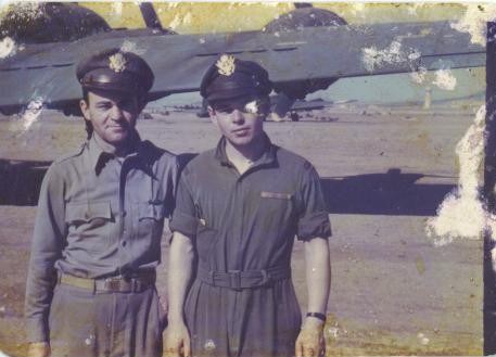 Joe Noyes and David Prees in North Africa during the Regensburg shuttle mission, 1943