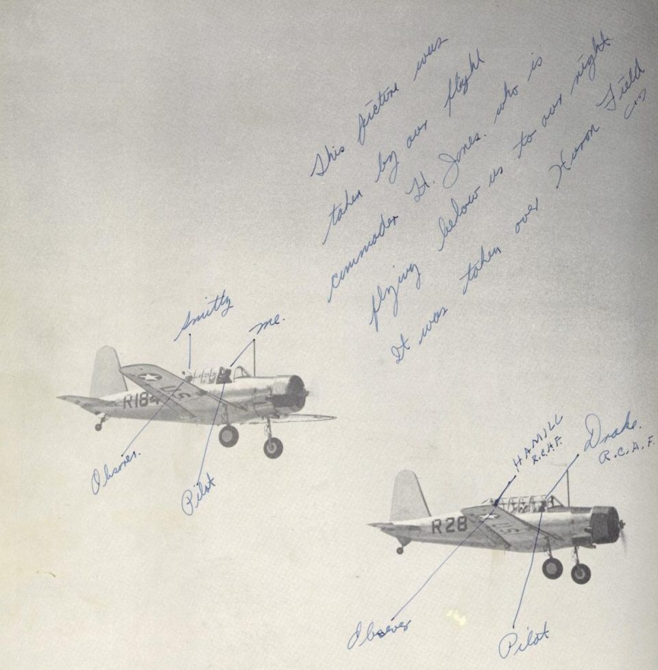 Handwritten notes by Joe Noyes from when he attended pilot training at Lemoore AAF