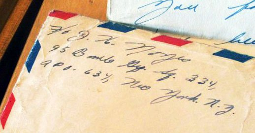 Joe's handwriting from a letter home to his parents
