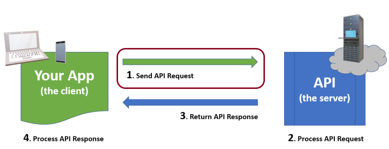 API cycle with 1. Send API Request highlighted.