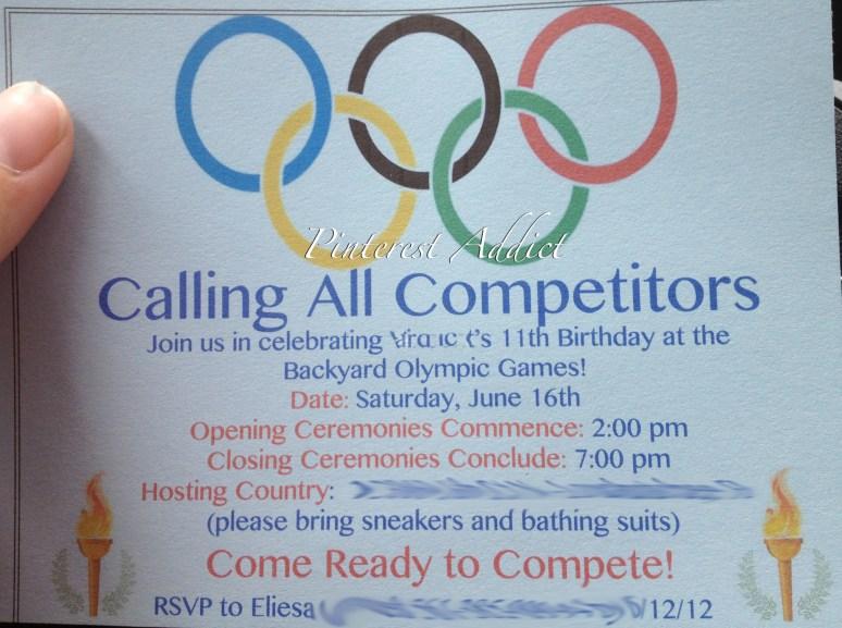 Olympic birthday party invitation