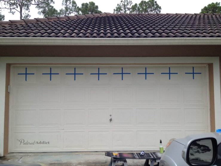 """Faux Carriage Garage Door - faux carriage garage door - Taped off the center lines with 1"""" tape"""