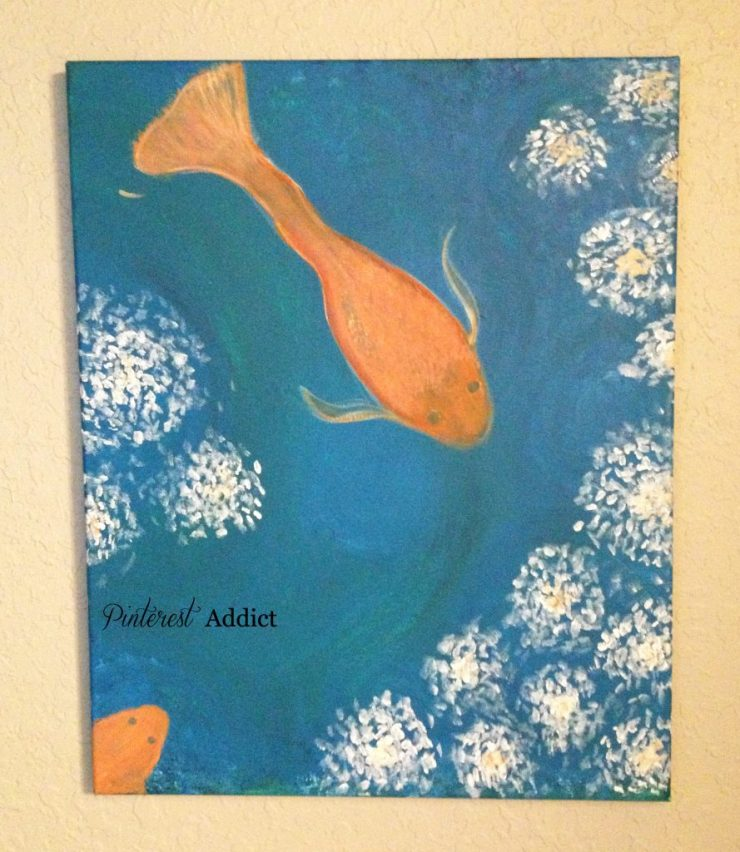 DIY Art - goldfish and white flowers by me, the Pinterest Addict