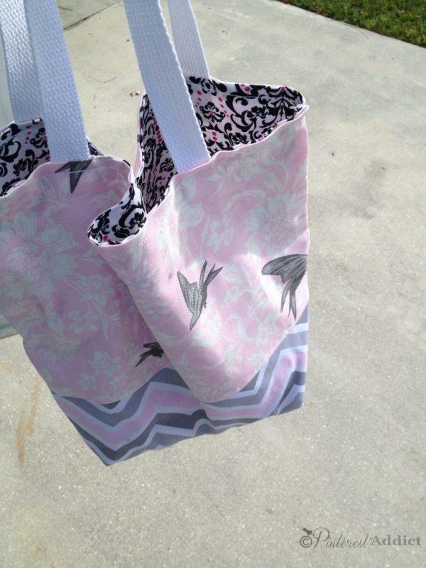DIY handbag pink gray white